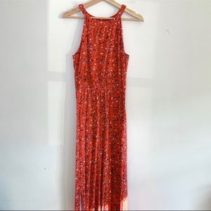 Lucky Brand Red Floral Print Maxi Dress